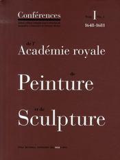 Les conferences de l'academie royale de peinture et de sculpture t.1 - Intérieur - Format classique