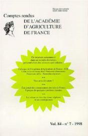 Compte rendu de l'academie d'agriculture de france vol.84 - Couverture - Format classique