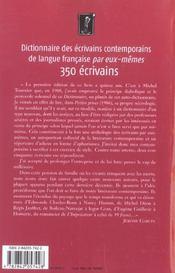 Dictionnaire des écrivains contemporains de langue française par eux-mêmes - 4ème de couverture - Format classique