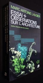 Essai et observations sur l'architecture - Couverture - Format classique