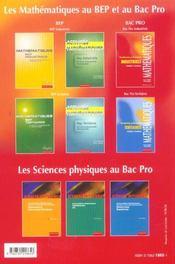 Mathématiques 1ere/Terminale Pro; industriel - 4ème de couverture - Format classique