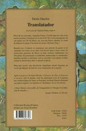Le cycle de l'Ancien Futur. Tome 4 : Translatador. - 4ème de couverture - Format classique