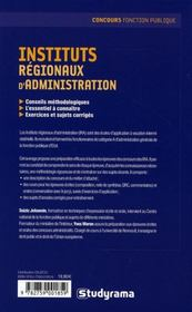 Instituts regionaux d'administration - 4ème de couverture - Format classique