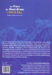 Le Pays Du Mont-Blanc A Petits Pas - 4ème de couverture - Format classique