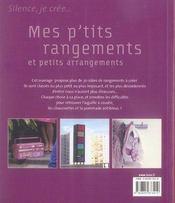 Mes p'tits rangements et petits arrangements - 4ème de couverture - Format classique