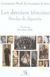 Les Derniers Temoins ; Paroles De Deportes - Intérieur - Format classique