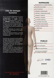 Clés de biologie humaine ; pcem - 4ème de couverture - Format classique