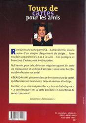 Tours De Cartes Pour Les Amis - 4ème de couverture - Format classique
