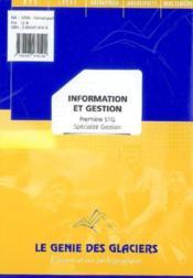 Information Gestion ; Stg - Couverture - Format classique