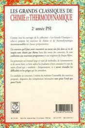 Grands classiques chimie/thermo psi - 4ème de couverture - Format classique