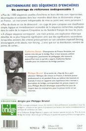 Dictionnaire des séquences d'enchères - 4ème de couverture - Format classique