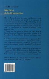 Mémoires de la décolonisation - 4ème de couverture - Format classique