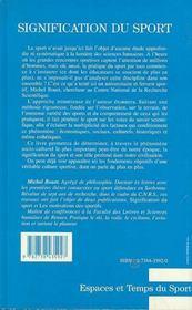 Signification Du Sport - 4ème de couverture - Format classique
