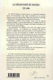 La découverte du sahara en 1900 - 4ème de couverture - Format classique