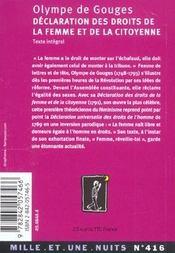 Declaration des droits de la femme et de la citoyenne - 4ème de couverture - Format classique