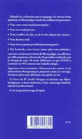 La Fatigue Chronique Ou La Fibromyalgie - 4ème de couverture - Format classique