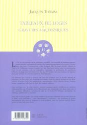 Tableaux De Loges Et Gravures Maconniques - 4ème de couverture - Format classique