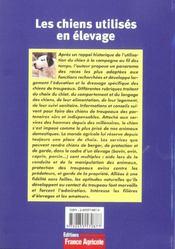 Les Chiens Utilises En Elevage - 4ème de couverture - Format classique