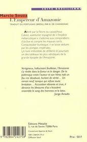 L'empereur d'amazonie - 4ème de couverture - Format classique