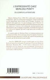 L'Expressivite Chez Merleau-Ponty ; Du Corps A La Peinture - 4ème de couverture - Format classique
