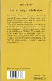 Du Bon Usage De La Lenteur - 4ème de couverture - Format classique