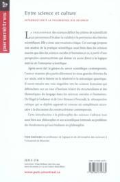 Entre science et culture ; introduction à la philosophie des sciences - 4ème de couverture - Format classique