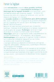Penser la logique ; une introduction technique et théorique à la philosophie de la logique et du langage (2e édition) - 4ème de couverture - Format classique