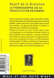 Le Pornographe Ou La Prostitution Reformee - 4ème de couverture - Format classique
