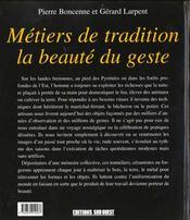 Metiers De Tradition La Beaute Du Geste - 4ème de couverture - Format classique