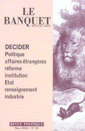 Le Banquet N.23 ; Decider - Intérieur - Format classique