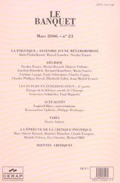 Le Banquet N.23 ; Decider - 4ème de couverture - Format classique
