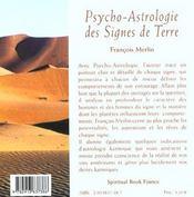 Psycho-astrologie des signes de terre - 4ème de couverture - Format classique