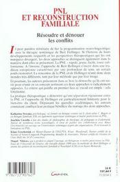 Pnl et reconstruction familiale - resoudre et denouer les conflits - 4ème de couverture - Format classique