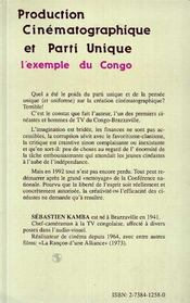 Production Cinematographique Et Parti Unique ; L'Exemple Du Congo - 4ème de couverture - Format classique