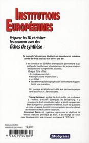Institutions Europeennes (2e Edition) - 4ème de couverture - Format classique