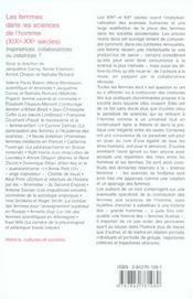 Les femmes dans les sciences de l'homme ; XIX-XX siècles - 4ème de couverture - Format classique