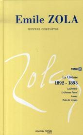 Oeuvres complètes t.15 ; la clôture, 1892-1893 - Intérieur - Format classique