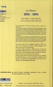 Oeuvres complètes t.15 ; la clôture, 1892-1893 - 4ème de couverture - Format classique