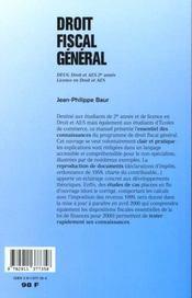 Droit Fiscal General ; Deug Droit Et Aes 2e Annee ; Annee 1999-2000 - 4ème de couverture - Format classique