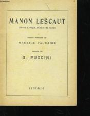 Manon Lescaut - Drame Lyrique En Quatre Actes - Couverture - Format classique