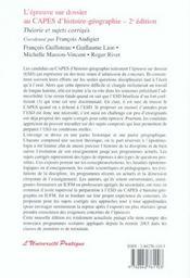 L'épreuve sur dossier au CAPES d'histoire-géographie ; théorie et sujets corrigés - 4ème de couverture - Format classique