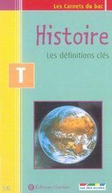 Histoire ; les définitions clés ; terminale - Intérieur - Format classique