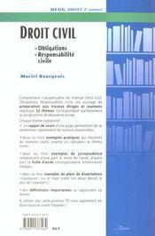 Droit DEUG 2ème année; Td Et Examens De Droit Civil ; Obligations, Responsabilite Civile - 4ème de couverture - Format classique