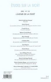 Revue Etudes Sur La Mort N.121 ; L'Avenir De La Mort - 4ème de couverture - Format classique
