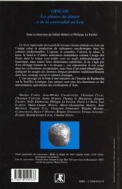 Opiums ; Les Plantes Du Plaisir Et De La Convivialite En Asie - 4ème de couverture - Format classique