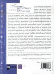 Femmes éducatrices au siècle des lumières - 4ème de couverture - Format classique