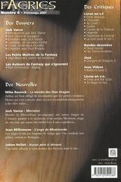 Faeries 4 Special Jack Vance - 4ème de couverture - Format classique