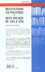 Institutions vie politique et faits sociaux de 1789 a 1958 - 4ème de couverture - Format classique