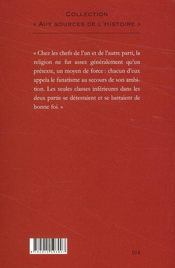 Les massacres de la Saint-Barthélémy ; récits des évènements du 24 août 1572 ; extrait de l'Histoire de Paris - 4ème de couverture - Format classique