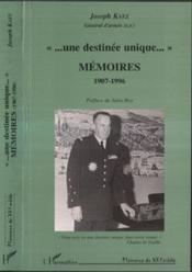 Une Destinee Unique, Memoires 1907-1996 - Couverture - Format classique